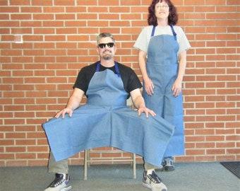 Pottery Apron Split Leg Panel Denim Blue Potters Wheel Apron
