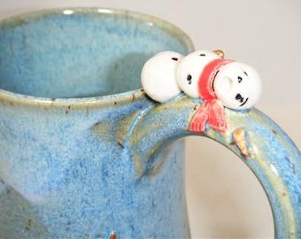 Snowman Mug Red Scarf Screaming Snowman Cup Black Top Hat Carrot Nose Sculptured Mug