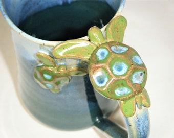 Sea Turtle Mug Baby Turtle Cup Ocean Blue Green Turtle Mug ClayDogStudio