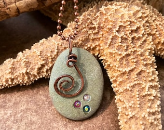 Copper Beach Pebble Bling Necklace