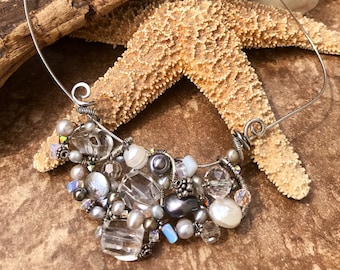 Sterling Silver Crystal Quartz, Freshwater Pearl & Moonstone Wirework Necklace