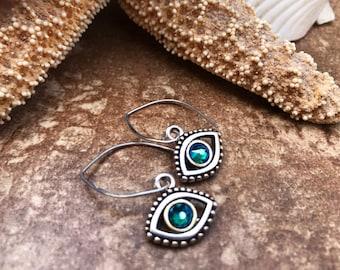 Sterling Silver, Pewter and Swarovski Crystal Evil Eye Earrings