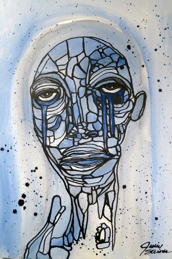 12x16 Graffiti Painting Low Brow Abstract Art Face Painting Blue Girl