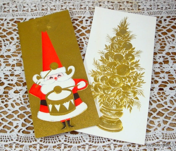 Hallmark Christmas Cards.Set Of 2 Gold Embossed Christmas Greeting Cards Happy New Year Topiary Santa Claus Hallmark 91 14