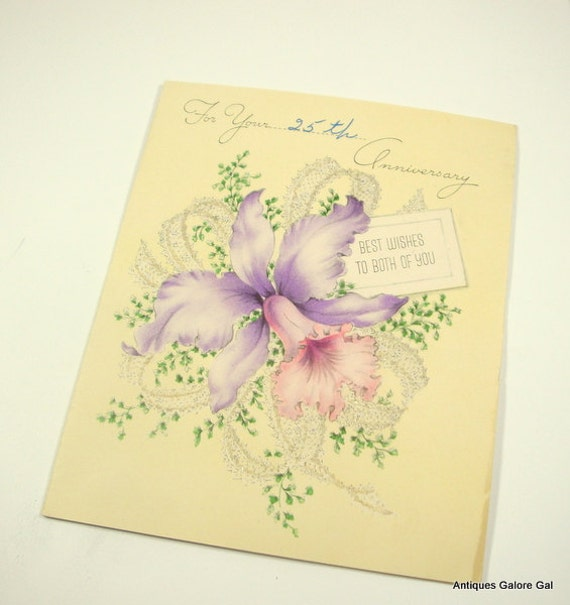 25th Wedding Anniversary Greeting Card Best Wishes Floral Flower Iris Mid Century Paper Ephemera 367 15