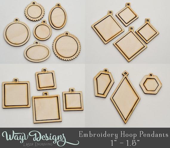1″ Embroidery Hoop Small Circle Pendants Round Connectors Laser Cut Wood EHPCIR