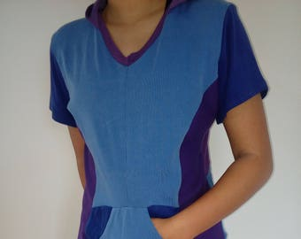 Short sleeve, upcycled hoody top, blue, purple, size SMALL