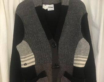 Sweater coat upcycled wool grey black