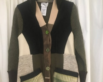 Upcycled ALL Wool SWEATER COATS, cream, green, beige,