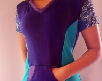 Short sleeve upcycled hoody top, blue, purple, tourquise, size SMALL