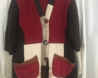 Upcycled sweater coat, brick red, brown, cream, autumn tones, all wool size large with hood