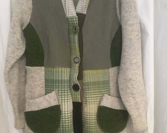 Upcycled all Wool SWEATER COATS, beige, green plaid, size medium,