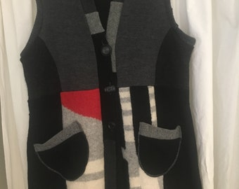 Wool, recycled, upcycled, katwise style, hood, sweater, winter, boho,size XL, red, gray, sleeveless vest