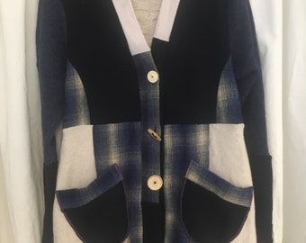 Upcycled wool sweater coat, long with hood, navy, cream, plaid, size large