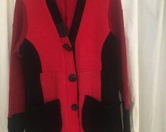 Upcycled ALL Wool SWEATER COATS red, black, medium, hood