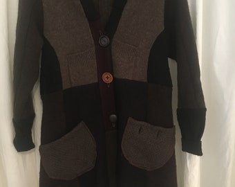 upcycled, hooded, wool sweatercoat, brown, size medium