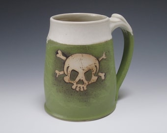 Medium 12oz Mug w. hand-drawn skull