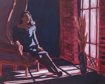 Woman in Chair #9  |  Original Acrylic Painting on Deep Edge Canvas 20 x 20