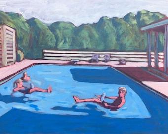 Pool #21  |  Original Acrylic Painting on Deep Edge Canvas 24 x 18