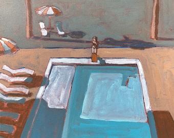 "Pool #66  |  Original Acrylic Painting on Canvas 14 ""x 14"""