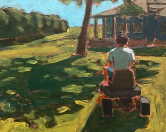 """Man Mowing Lawn #2  