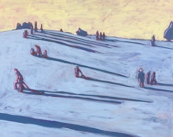 Sledding Hill  |  Original Acrylic Painting on Deep Edge Canvas 24 x 24