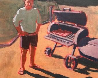 "Man and Smoker  |  Original Acrylic Painting on Canvas 14 ""x 14"""