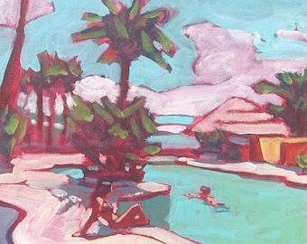 "Pool #62  |  Original Painting on Canvas, 12""x16"""