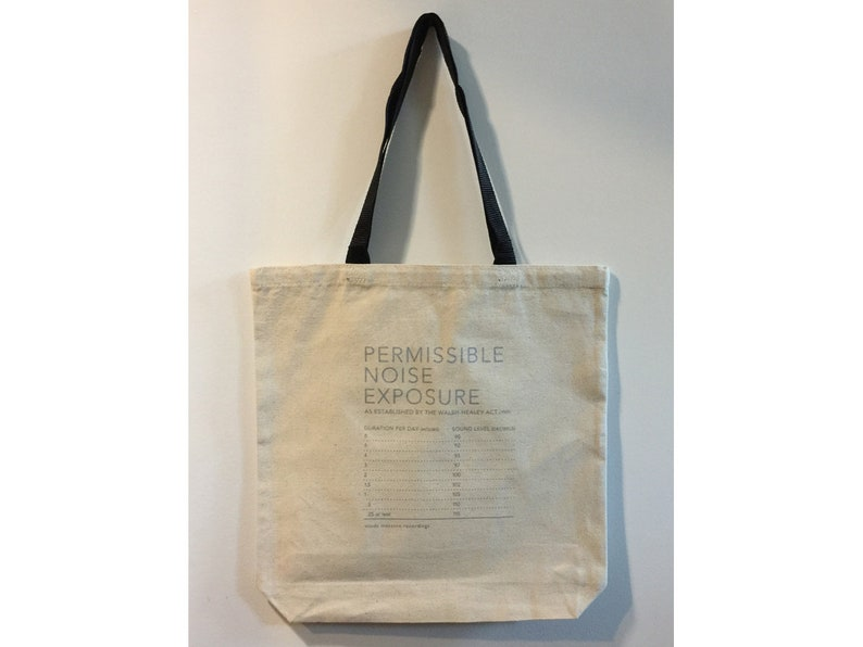 Silver on Natural Tote bag with black handles Permissible Noise Exposure Silkscreen Tote Bag