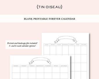 Printable Blank Monthly Calendar Template, Hand Drawn Ribbon Banner Illustration Digital Download Landscape Portrait Schedule Planner Agenda