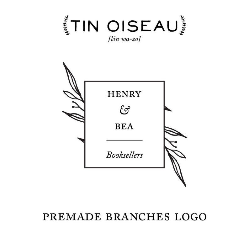 Premade Vintage Inspired Business Logo Hand Drawn Branches image 0