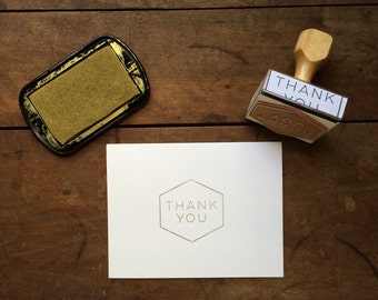Mid Century Inspired Thank You Stamp - DIY Thank You Card - Handmade - Modern Font Typography - Geometric Mens Simple Stylish