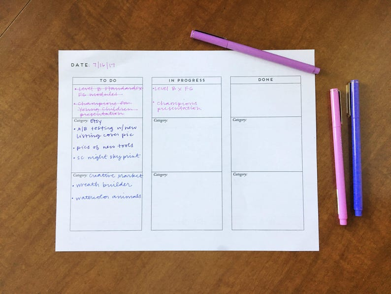 Printable Kanban for Makers Simple Minimalist Organizer image 0