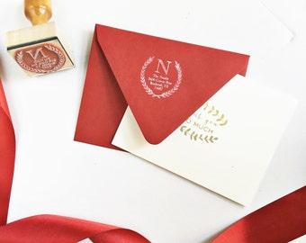 Modern Laurel Wreath Address Stamp with Initial - Custom Rubber Stamp - Wood Handle - Monogram - Housewarming Wedding Shower Gift for Men
