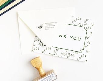 Vintage Inspired Address Stamp - Custom Rubber Stamp - Pointing Hand - Retro Design Gift for Guy Husband Brother Housewarming Wedding