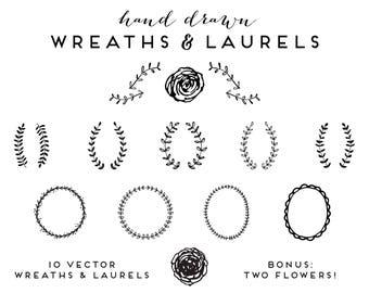 Hand Drawn Wreaths and Laurels | Clip Art Vector Illustrations Floral Botanical Branches Flowers Vines Frames Borders Logo Branding