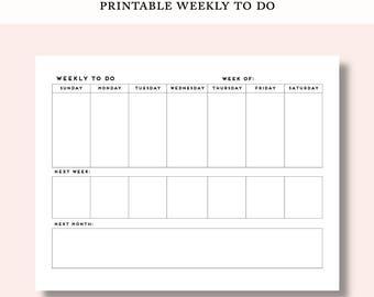 Printable Weekly To Do List | Simple Minimalist Organizer Planner | Weekly Plan Calendar Template Blank