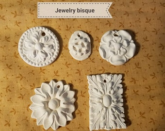 Jewelry ceramic bisque ready to paint