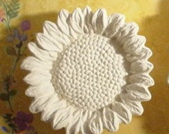 Sunflower Ceramic unfinished Bisque Wall or candle holder or desert dish