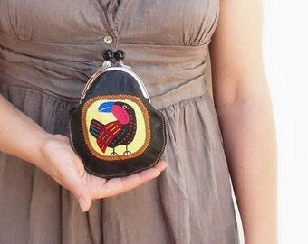 Leather Bird Wallet Kiss lock Wallet Mola Applique Black Leather