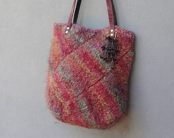 Soft Knitted Bag, Knitted Dreamy Rainbow Tote Bag made with Leather Straps, Boho Leather Bag
