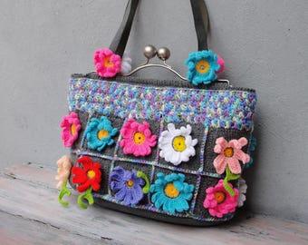 Flower Power Hobo Bag Crocheted Flowers, Colorful Boho Purse
