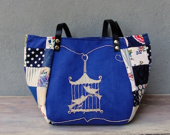 Woodland  Bird Bag - Vintage Embroidery, Blue  Patchwork and Leather Bag.