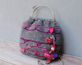 Knitted Gray with Purple Bag, Hand Knitted Bohemian Purse, Flowers, Leaves and Beads, Little Bag, Chain Strap, Kiss-lock