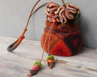 Felted Exotic Flower Bag Geometry Pull string Purse, Hand Knitted and Felted with Leather