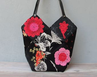 Moulin Rouge Patchwork Bag, Patched Paris Tote, Burlesque Style Doilies and Fabrics with Leather Straps