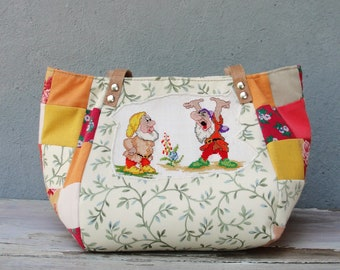 Fairy tale Bag - Snow White and the Seven Dwarfs - Vintage Embroidery, Yellow Orange, Patchwork and Leather Bag