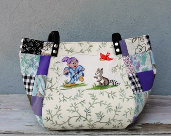 Fairy tale Bag - Snow White and the Seven Dwarfs - Vintage Embroidery, Purple Black, Patchwork and Leather Bag