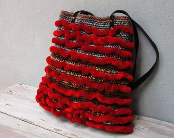 Deep Red Striped Bag, Crochet Bag with Leather Straps, Grey, Black and Red