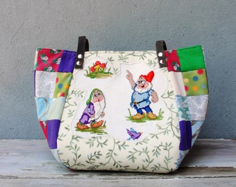 Fairy tale Bag - Snow White and the Seven Dwarfs - Vintage Embroidery, Red Purple, Patchwork and Leather Bag